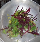 Sauteing beetroot stalks