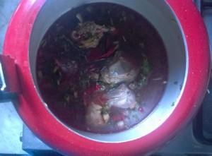 Preparing mutton soup