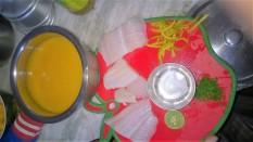 Basa filet in orange sauce