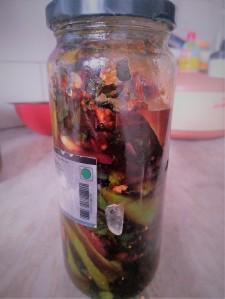Beet Stalks Pickle With Ginger Garlic
