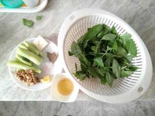 Ingredients of Broccoli Stalks Pesto Dip