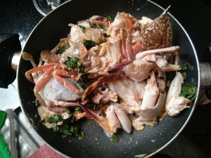 Pan Fried Sea Crab in Basil Spice